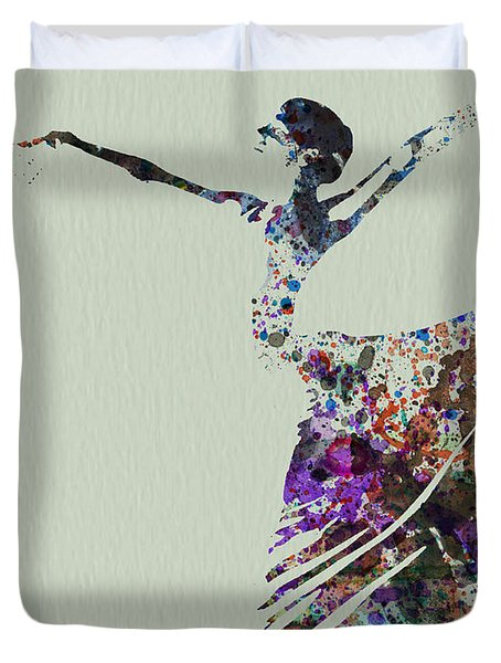 Ballerina Dancing Watercolor Duvet Cover