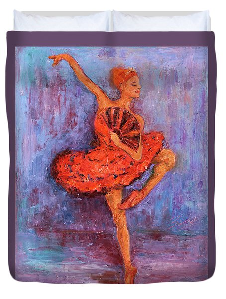 Duvet Cover featuring the painting Ballerina Dancing With A Fan by Xueling Zou