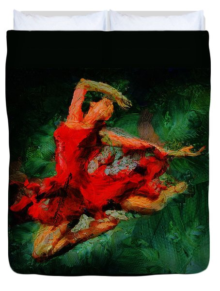 Ballerina Girl -  Love Is Seduction  Duvet Cover by Sir Josef - Social Critic -  Maha Art