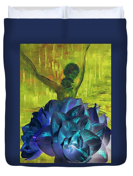 Ballerina Illusion Duvet Cover by AmaS Art