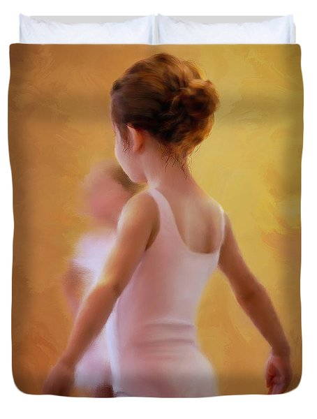 Ballerina In Pink Duvet Cover by Colleen Taylor