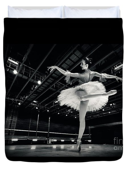 Duvet Cover featuring the photograph Ballerina In The White Tutu by Dimitar Hristov