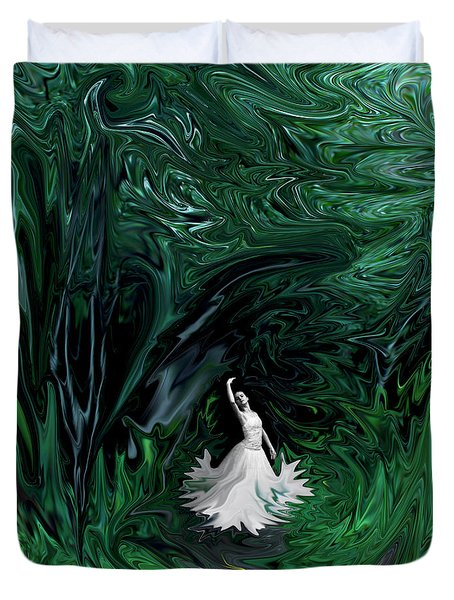 Duvet Cover featuring the photograph Ballerina In Wonderland by Rebecca Margraf