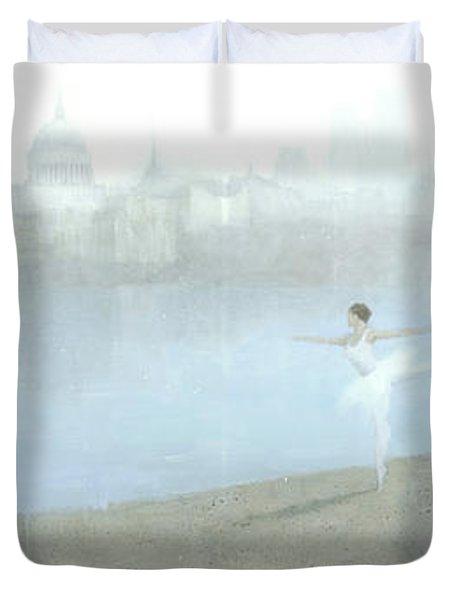 Ballerina On The Thames Duvet Cover by Steve Mitchell