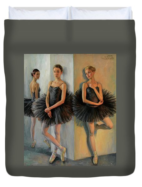 Ballerinas In Black Tutu Duvet Cover