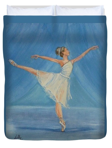 Duvet Cover featuring the painting Ballet Blues by Kelly Mills