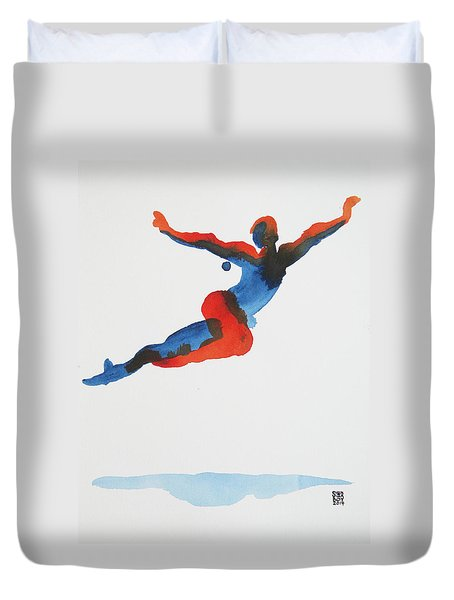 Duvet Cover featuring the painting Ballet Dancer 1 Flying by Shungaboy X