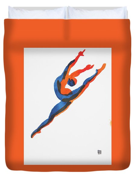 Duvet Cover featuring the painting Ballet Dancer 2 Leaping by Shungaboy X