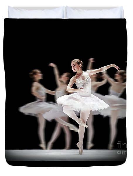 Duvet Cover featuring the photograph Ballet Dancer Dance Photography Long Exposure by Dimitar Hristov