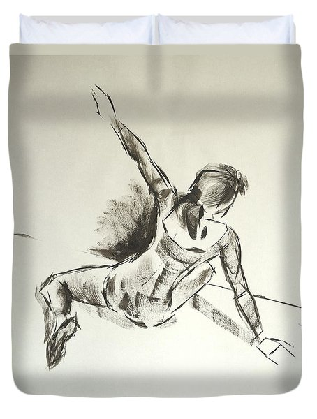 Ballet Dancer Sitting On Floor With Weight On Her Right Arm Duvet Cover