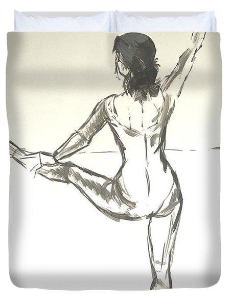 Ballet Dancer With Left Leg On Bar Duvet Cover