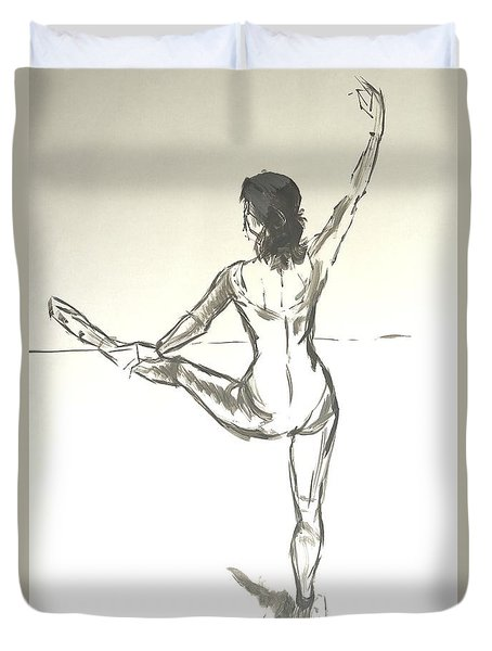Ballet Dancer With Left Leg On Bar Duvet Cover