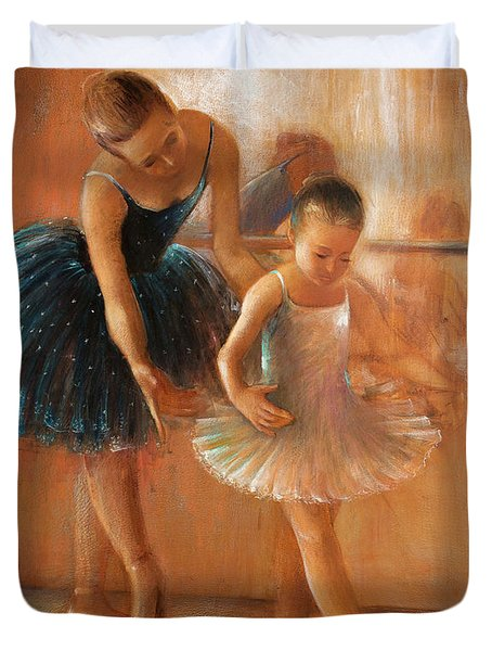 ballet lesson-painting on leather by Vali Irina Ciobanu  Duvet Cover