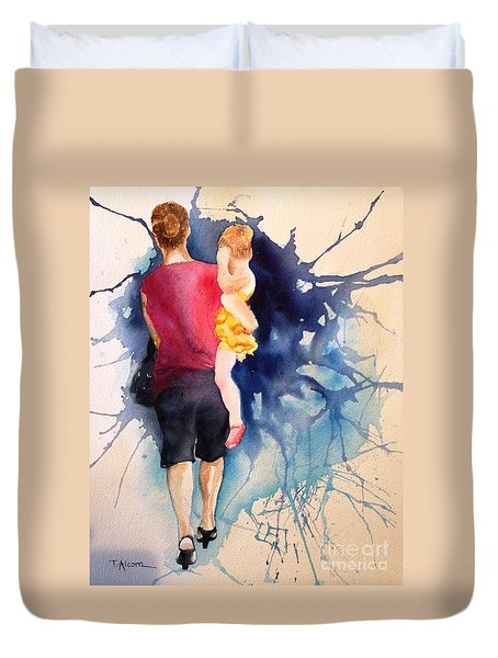Duvet Cover featuring the painting Ballet Mum - Original Sold by Therese Alcorn