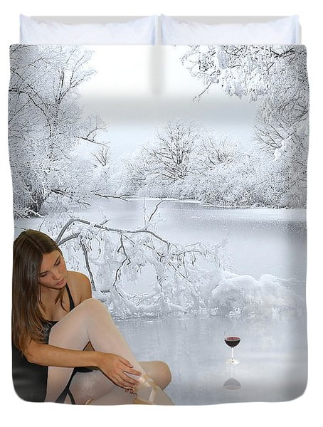 Ballet On Ice Duvet Cover