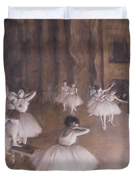 Ballet Rehearsal On The Stage Duvet Cover by Edgar Degas
