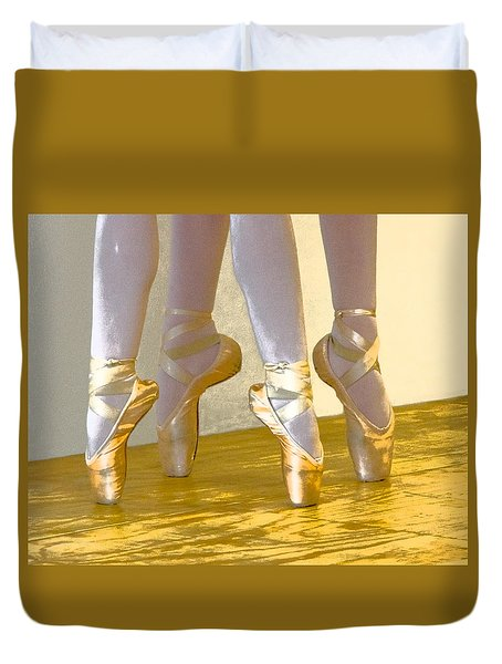 Ballet Second Position In Gold Duvet Cover