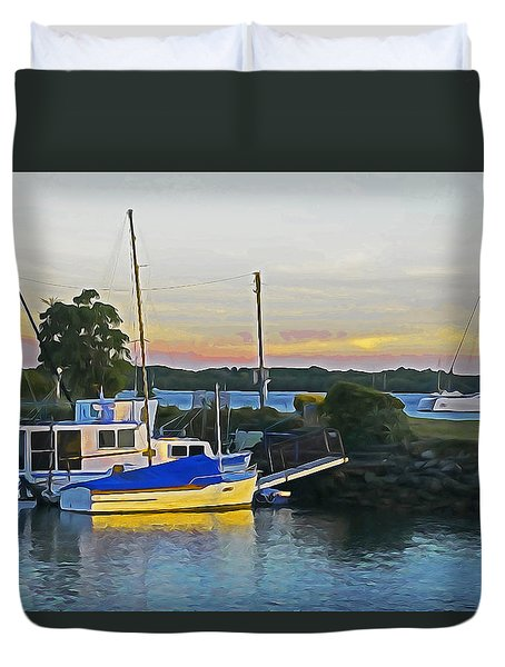 Ballina Boats Duvet Cover by Dennis Cox WorldViews
