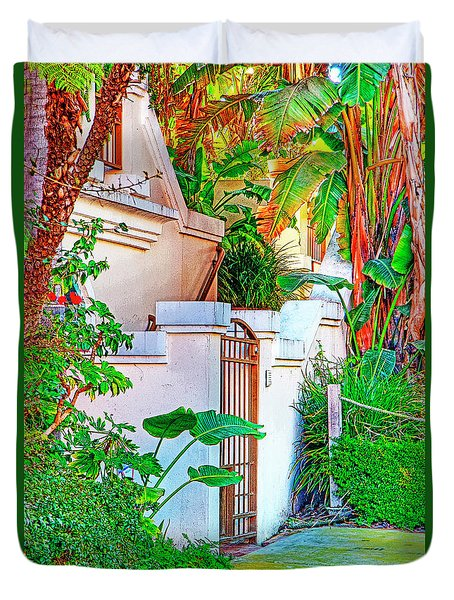 Duvet Cover featuring the photograph Ballona Lagoon Gate by Chuck Staley