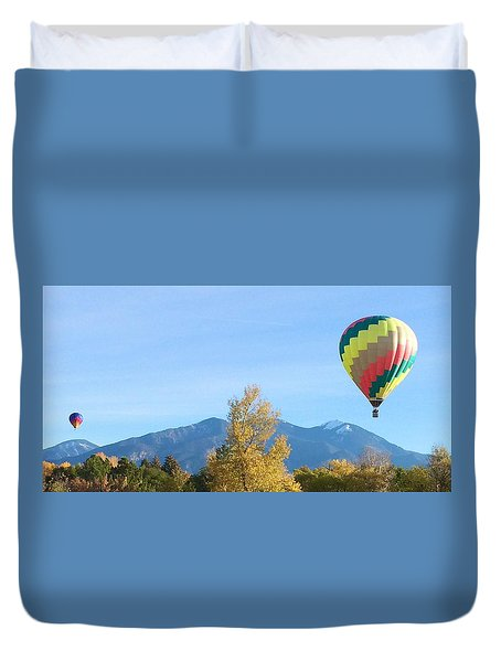 Ballons At Taos Mountain Duvet Cover by Brenda Pressnall