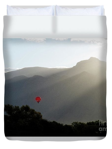 Balloon At Sunrise Duvet Cover