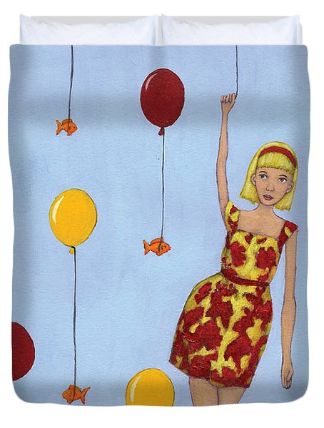 Balloon Girl Duvet Cover by Christy Beckwith