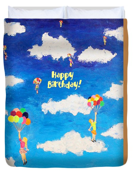 Balloon Girls Birthday Greeting Card Duvet Cover