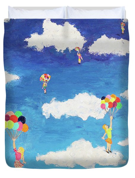 Balloon Girls Duvet Cover