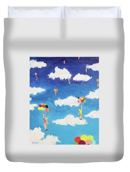 Duvet Cover featuring the painting Balloon Girls by Thomas Blood