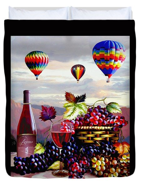 Balloon Ride At Dawn Duvet Cover by Ron Chambers