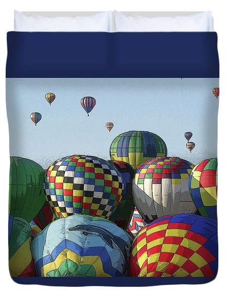 Duvet Cover featuring the photograph Balloon Traffic Jam by Marie Leslie