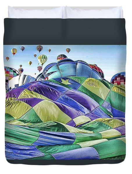 Ballooning Waves Duvet Cover by Marie Leslie