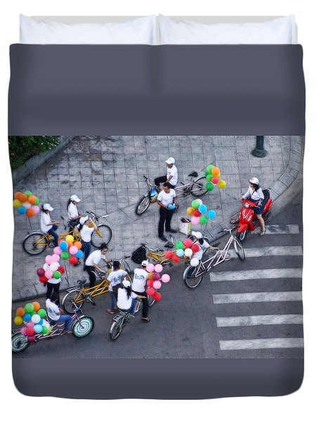 Balloons And Bikes Duvet Cover