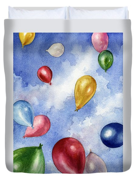 Duvet Cover featuring the painting Balloons In Flight by Anne Gifford