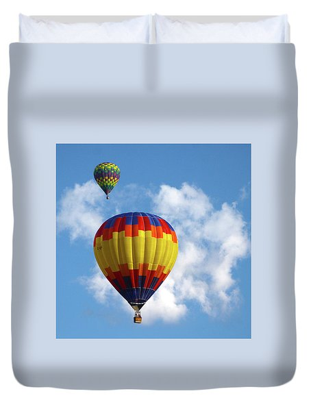 Balloons In The Cloud Duvet Cover by Marie Leslie
