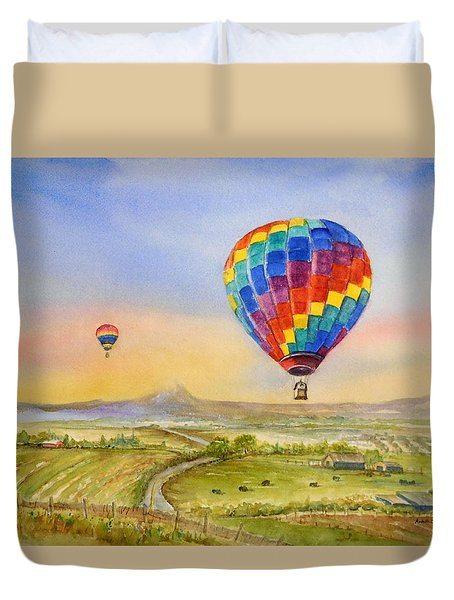 Balloons Over Mcminnville Duvet Cover
