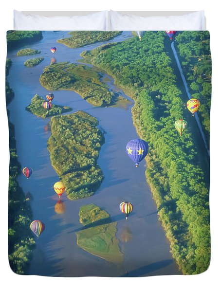 Balloons Over The Rio Grande Duvet Cover