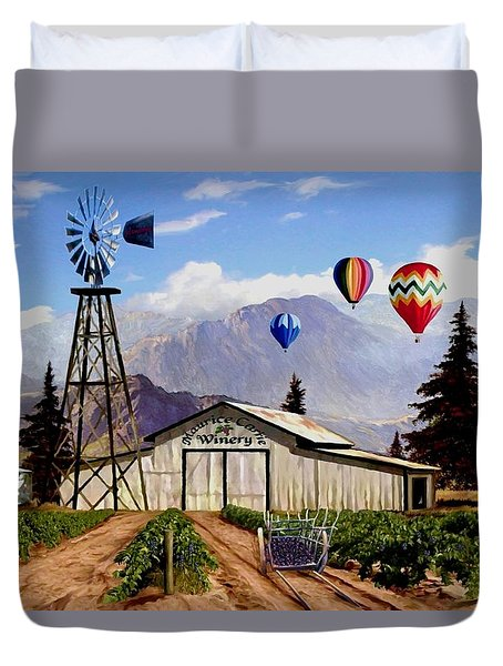 Balloons Over The Winery 1 Duvet Cover