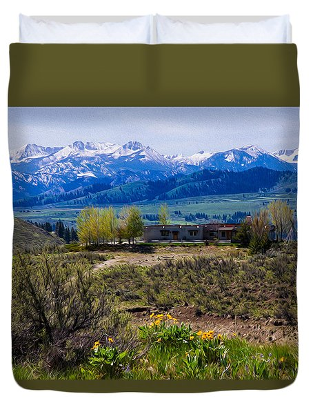 Balsamroot Flowers And North Cascade Mountains Duvet Cover by Omaste Witkowski