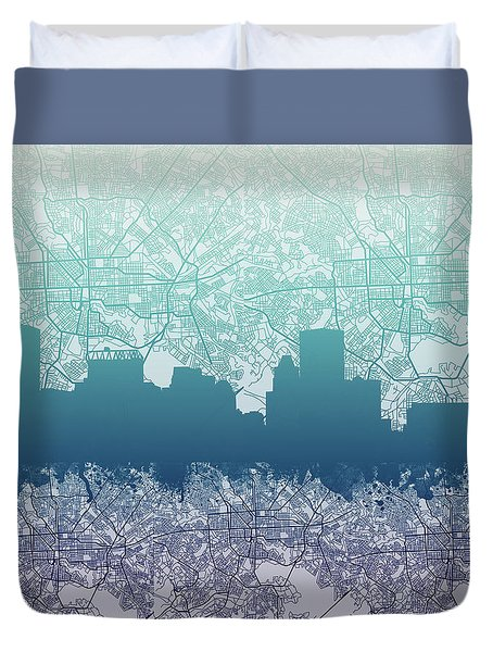 Duvet Cover featuring the painting Baltimore City Skyline Map 2 by Bekim Art