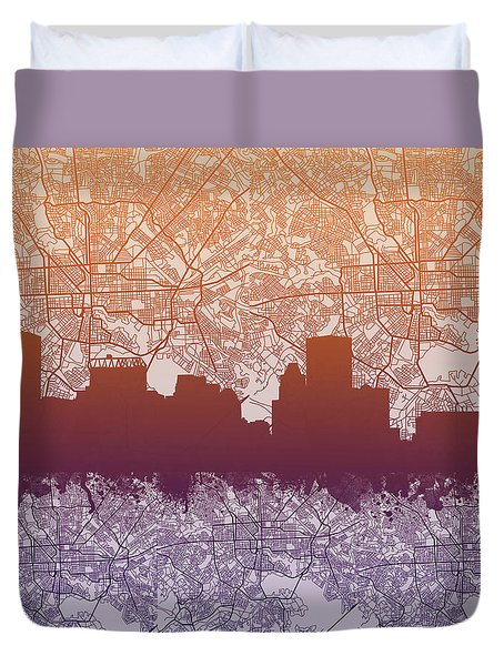 Duvet Cover featuring the painting Baltimore City Skyline Map by Bekim Art