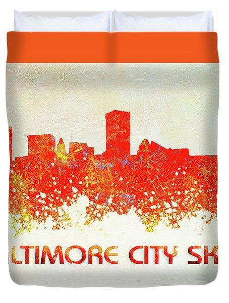 Baltimore City Skyline Duvet Cover