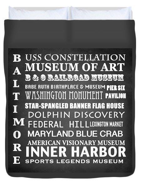 Baltimore Famous Landmarks Duvet Cover