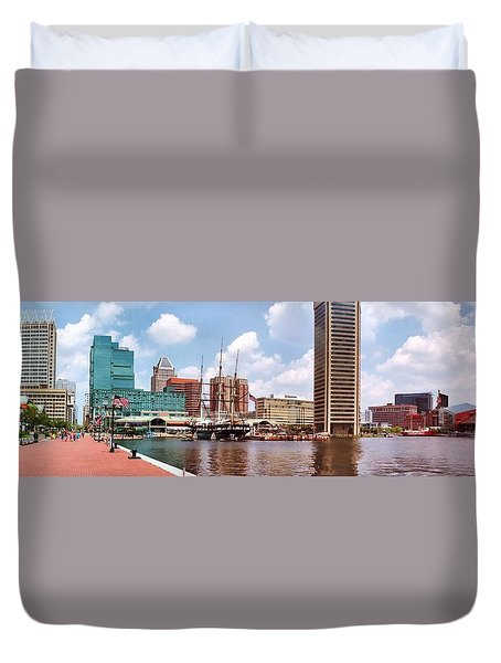 Baltimore Harbor Panorama Duvet Cover