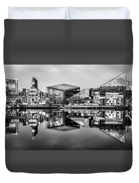 Baltimore In Black And White Duvet Cover