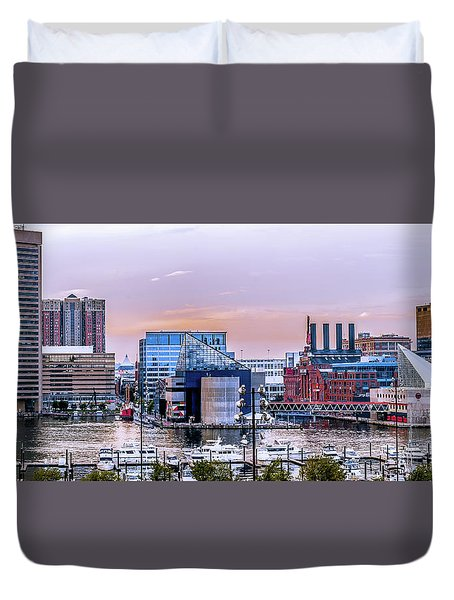 Baltimore In Purple And Orange Duvet Cover