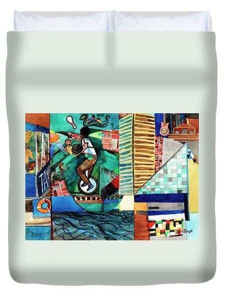 Baltimore Inner Harbor Street Performer Duvet Cover