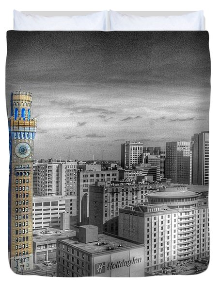 Duvet Cover featuring the photograph Baltimore Landscape - Bromo Seltzer Arts Tower by Marianna Mills
