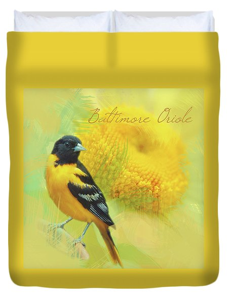 Baltimore Oriole Watercolor Photo Duvet Cover