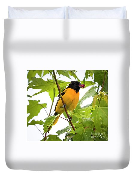 Duvet Cover featuring the photograph Baltimore Oriole With Raspberry  by Ricky L Jones
